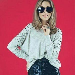 LF Sweewë Gray Studded Shoulder Angora Sweater Top
